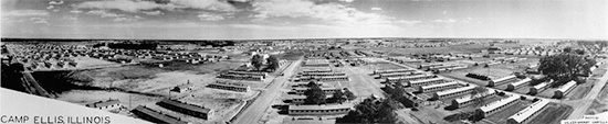 Aerial view of Camp Ellis, Table Grove, Illinois, where the 48th Field Hospital was officially activated 10 September 1943. The organization would stay at the Camp until 8 November 1943.