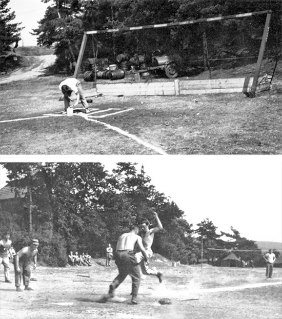 "48th Field Hospital. Baseball Diamond field in action somewhere in Germany. The man in charge of drill, physical fitness, and sports such as baseball was Sergeant Ralph L. Quesinberry, nicknamed ""Coach Q"" (after the war he would join Ohio High School as Football coach)."