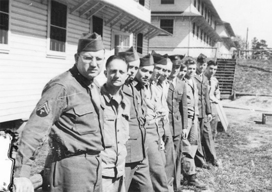Personnel of the 48th Field Hospital in front of one the barracks at Fort Jackson, Columbia, South Carolina.