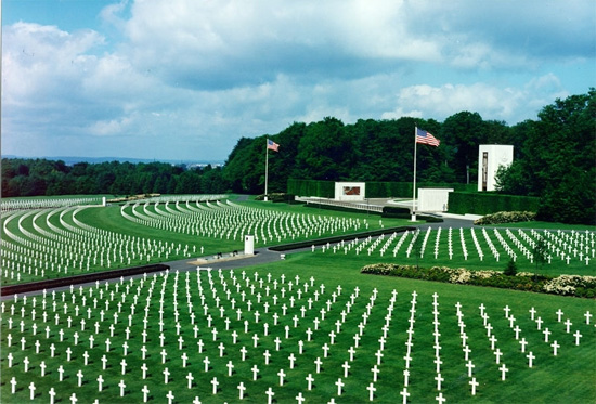Partial aerial view of the Luxembourg American Cemetery.