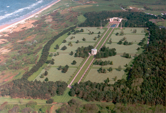Aerial view showing the Normandy American Cemetery, overlooking Omaha Beach.