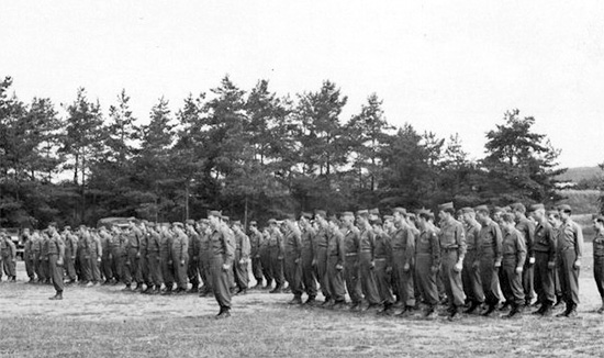 48th Field Hospital. Reveille formation, somewhere in Germany.