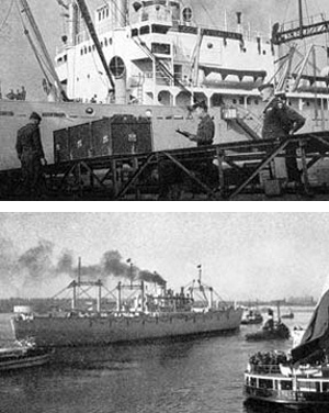 Top: The last casket is checked aboard the USS Transport Joseph V. Connolly – first US war dead are being repatriated from Belgium to the United States… Bottom: US Army Transport Joseph V. Connolly, leaving Antwerp Port, bearing the remains of 5,600 American war dead on their way to the United States Antwerp, Belgium – October 1947