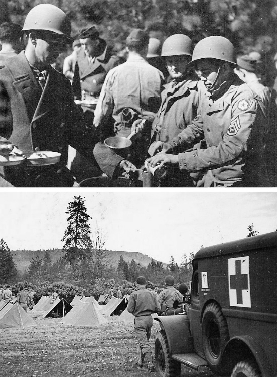 Bottom Left: 82d General Hospital. Training at Camp White, Medford, Oregon and area: chow line. Bottom Right: 82d General Hospital. Training at Camp White, Medford, Oregon and area: medical assistance standby.