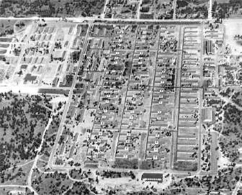 Aerial view of Jedediah H. Baxter General Hospital, Spokane, Washington, in the 1940s. During their stay, many Officers and Enlisted personnel of the 82d General Hospital were on duty at the different medical facilities to learn and acquire more medical skills.