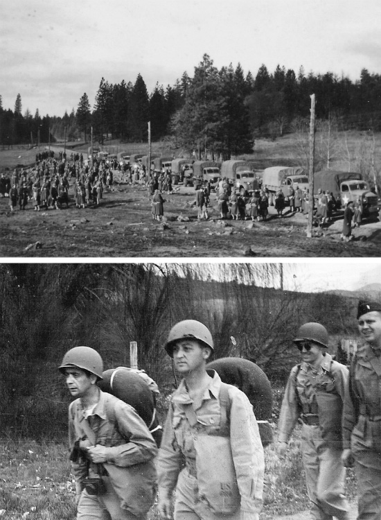 Top: 82d General Hospital. Training at Camp White, Medford, Oregon and area: map reading and compass training. Bottom: 82d General Hospital. Training at Camp White, Medford, Oregon and area: physical endurance.