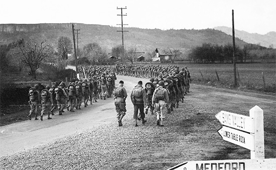 82d General Hospital. Training at Camp White, Medford, Orgeon and area: hiking and road marches.