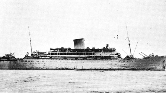 Exterior view of RMS Andes, the 45th's transport vessel to North Africa.