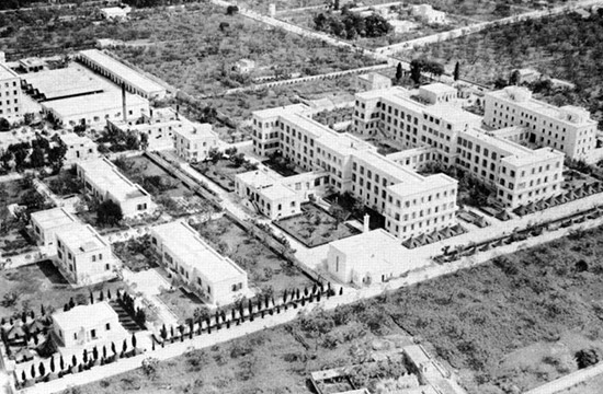 Aerial viewing showing the Ospedale Militare Lorenzo Bonomo, the last 'home' of the 45th General Hospital in the MTO.