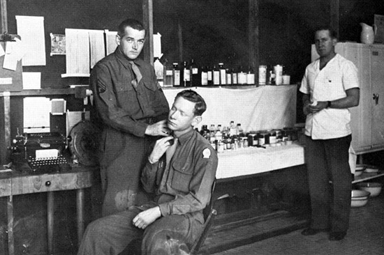 Three unidentified members are pictured in the Hospital's Dispensary in Bari, Italy.
