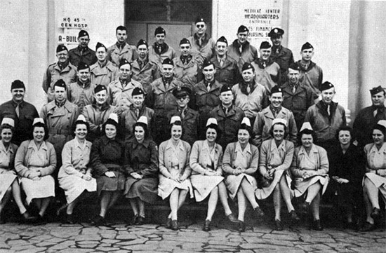 Photograph showing a partial group of Officers and Nurses from the 45th General Hospital.