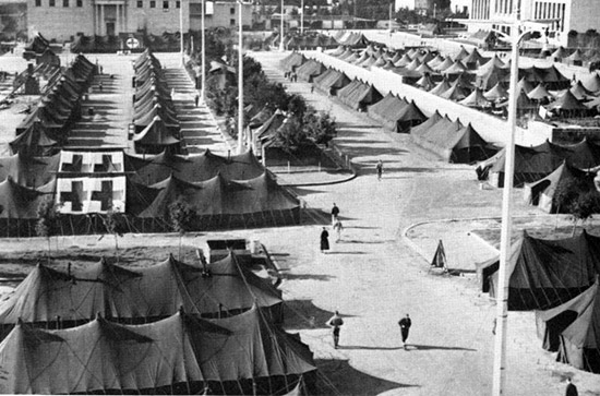 Aerial view showing Ward Tents that were erected in the Detachment area at Naples. These tents were used to house almost half of the patients at any one time.