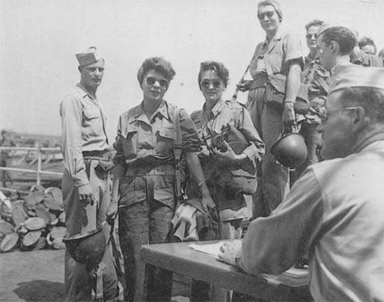 "ANC Officers of the 95th Evac ready to board the USAHS ""Marigold"" in Naples for their journey to S. France. The unit participated in Operation ""Dragoon"", the landing in Southern France on 15 August 1944."