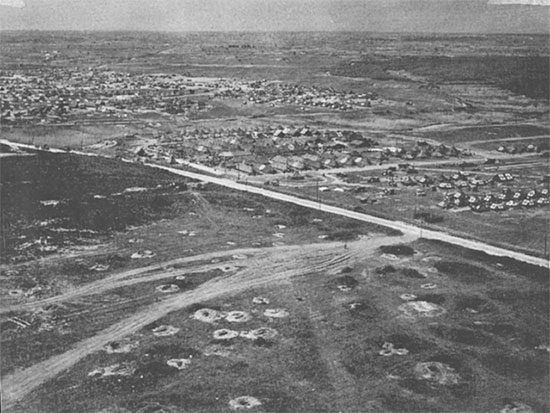 Another aerial view of the American hospital sector of Anzio Beachhead.