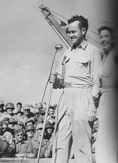Comedian Bob Hope (USO) visiting US Forces stationed in North Africa.