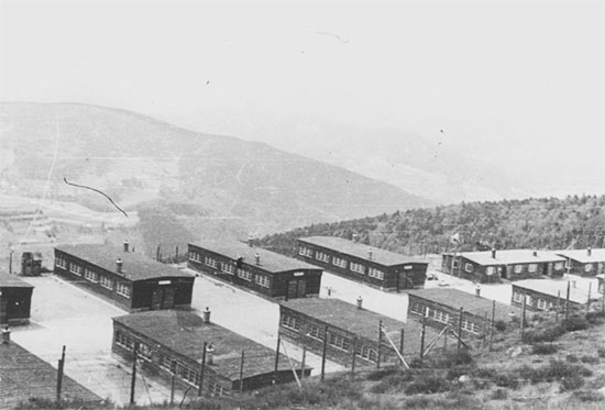 Partial view of the Natzweiler-Struthof Concentration Camp in the French Vosges Mountains. Picture taken after the camp's liberation in 1945.