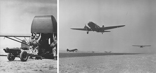 82d Airborne troops training with C-47 transport aircraft and CG-4A gliders while at Oujda. The 95th Evac was bivouacked near the airborne troops, rendering the necessary medical support and witnessing many practice parachute jumps with numerous casualties.