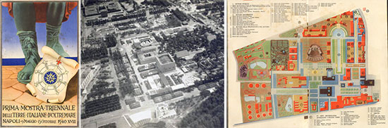 "Left: Vintage booklet announcing the ""First Triennial Exhibition of Italian Overseas Territories"", held from 9 May to 15 October 1940 at Bagnoli, near Naples, Italy. Center: Partial aerial view of the US Army Medical Center set up on the Fair (Mostra) grounds.  Right: Vintage Map illustrating the different sectors of the Exhibition."