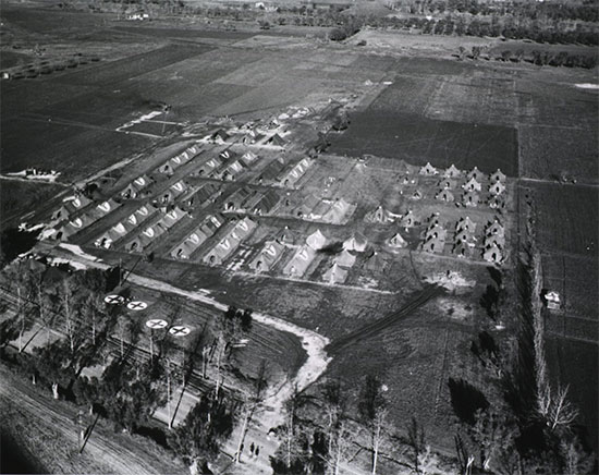 Aerial view of 95th Evacuation Hospital, Capua area, Italy