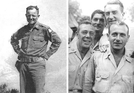 Pictures illustrationg some Officers serving with the 95th Evacuation Hospital in North Africa. Left: Captain Laurence R. Davis (Catholic Chaplain). Right: (from L to R) Major Lewis A. Imerman, Captain Charles Musso, Lt. Colonel William Comess, and Captain Arthur B. deGrandpré.