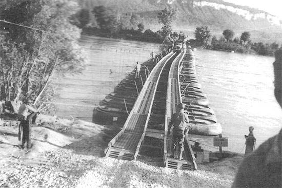 31 March 1945. Elements of the 95th Evac are crossing the Rhine River at Worms, Germany.