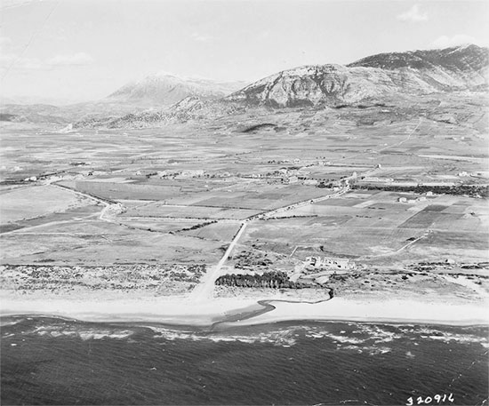 Partial aerial view of the Salerno Beachhead, taken before the landings.1943.