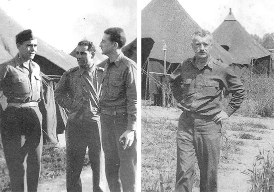 Officers of the 95th Evac in Italy. Left: Major Howard Patterson, Captain Max Erlich, Captain Arthur B. deGrandpré. Right: Lt. Colonel Grantley W. Taylor.
