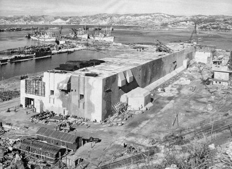 September 1944. Partial view of the enormous U-Boat installations at the Port of Marseille, Southern France, following Allied bombing.