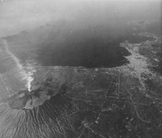Partial aerial view of a smoldering Mount Vesuvius.