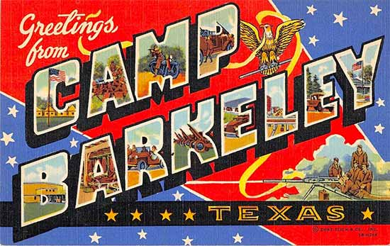 Greetings card from Camp Berkeley, Texas, the founding place for the 30th Evacuation Hospital.