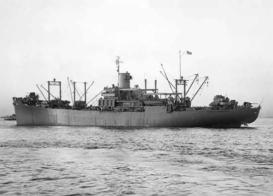 General view of USS Fayette (APA-43). Photograph taken on 21 October 1943.
