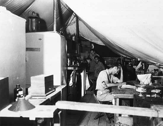 Interior shot of the Laboratory at a Station Hospital in Leyte. Photograph taken on 23 December 1944.