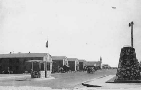 Photograph showing the main entrance gate to Camp Stoneman, California.
