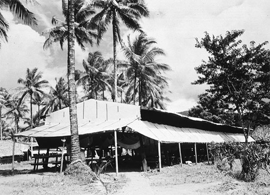 Exterior view of a ward at the 1st Field Hospital. Photograph taken at Milne Bay, New Guinea in 1943.