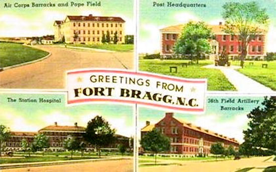 "Vintage souvenir postcard of Fort Bragg, Fayetteville, North Carolina. This was the Post where the 27th Station Hospital was officially activated on 5 May 1942 as part of the ""Provisional Hospital Training Center""."