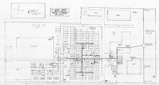 An illustration prepared after WW2 showing the final layout arrangement for the 26th General Hospital at Bizot.