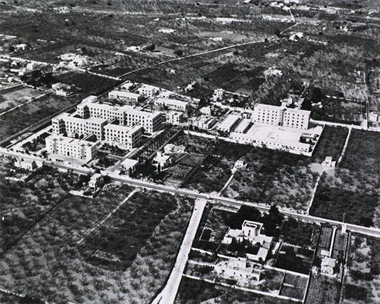 Aerial view of the complex, occupied by the 26th General Hospital during its time in Italy.