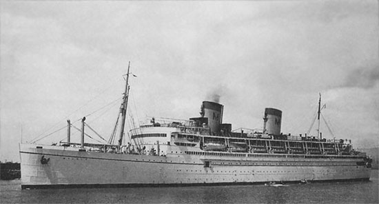 External view of the SS Mariposa, transport for the 26th across the Atlantic.