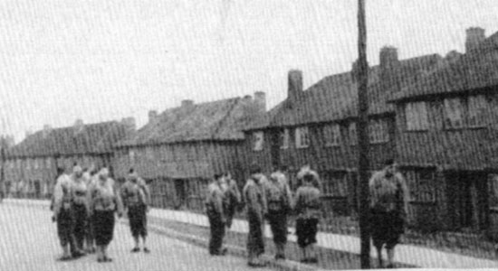 Members of the 26th General Hospital are pictured in front of numerous buildings on the Pheasey estate.