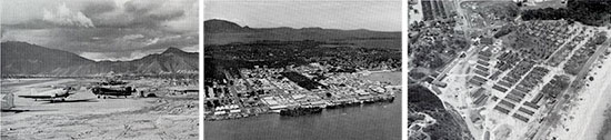 From L to R: Tontouta Airfield, Nouméa, New Caledonia, August 1943; aerial view of the central part of Nouméa and harbor, New Caledonia, March 1943; aerial view of the 27th Station Hospital, Nouméa, New Caledonia, February 1943.