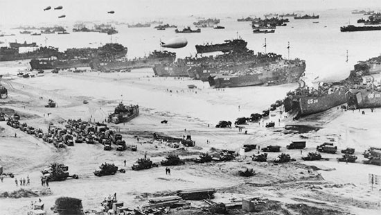 Partial aerial view of the build-up at Omaha Beach, Normandy, France, July 1944.