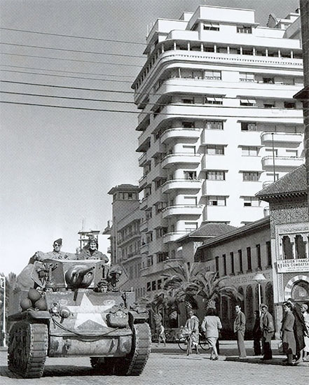 Casablanca, French Morocco, November-DEcember 1942. US armor patrol the streets of Casablanca.