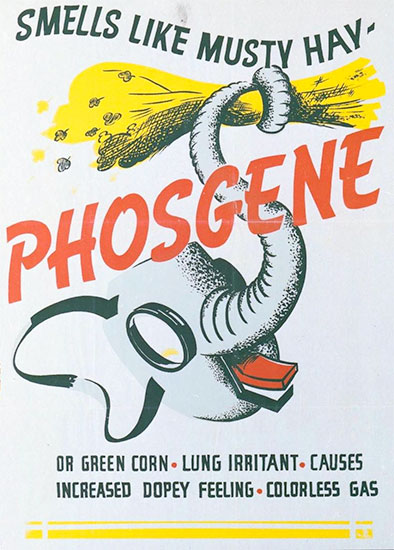 Chemical Warfare Poster, warning against Phosgenes (colorless respiratory irritant gas).