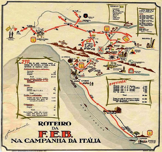 Road Book Map illustrating the Italian Campaign of the Brazilian Expeditionary Force (B.E.F.). The Força Expedicionària Brasileira consisted of about 25,700 men and women who fought alongside the Allies in Italy from September 1944 to May 1945. The B.E.F was commanded by General Mascarenhas de Moraes.