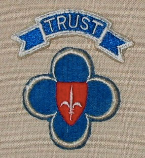 "Special shoulder sleeve insignia illustrating ""TRUST"" (Trieste-United States Troops). The insignia was based on the one used by the US 88th Infantry Division, which remained as the main Occupation Force and supplied personnel to TRUST, when taking over occupation of the Free Territory of Trieste from British Forces in May 1947."