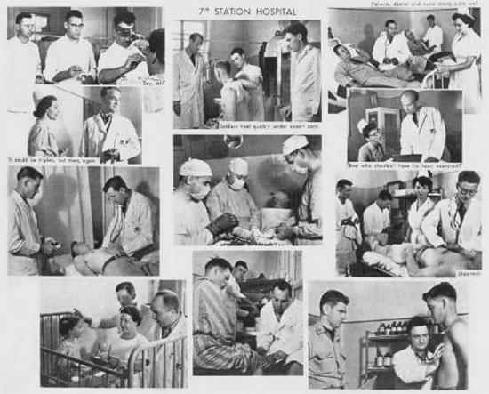 "Collage illustrating the various aspects of medical and other activities conducted by the 7th Station Hospital, while serving with ""TRUST"" in Italy."