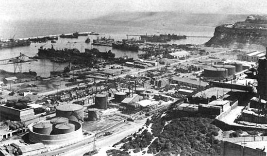 Partial view of Oran harbor, Algeria, North Africa in April 1943.