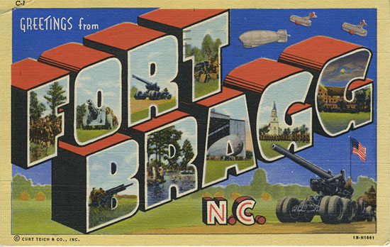 Vintage linen postcard offering greetings from Fort Bragg, activation place of the 117th Evacuation Hospital.