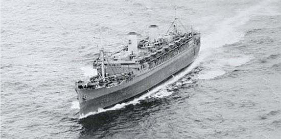 Aerial port bow view of SS Mariposa, the vessel which carried staff and equipment from the 117th across the Atlantic to France.
