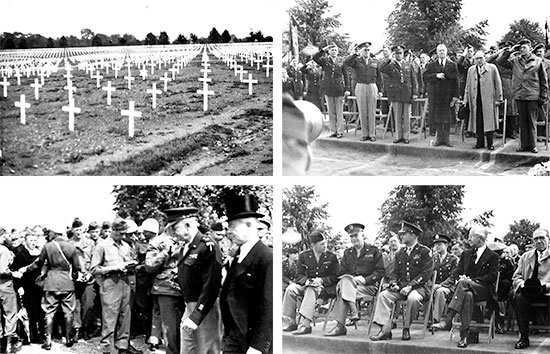 Official celebration of the First Memorial Day (postwar event) at Henri-Chapelle American Cemetery, in presence of US Army General Officers (including General Dwight D. Eisenhower), and Belgian and American Officials, Wednesday, May 30, 1945.